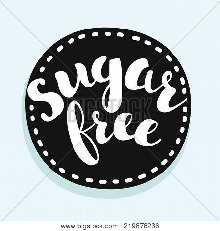 Vector black sugar free stamp lable or sticker on white background