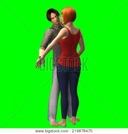 3D rendering on chroma key background of standing couple engaged