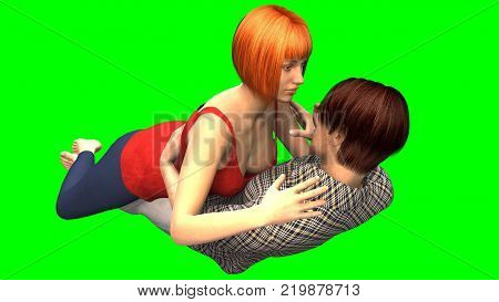 3D rendering of loving effusions of engaged couple in relaxed pose on chroma key background