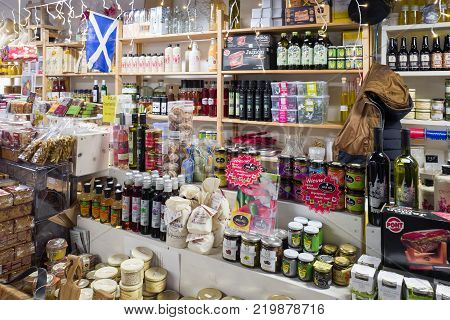 NETHERLANDS - DEVENTER - NOVEMBER 26 2017: In the Old Mosterdfabriek are shops selling olive oil sambal and spices in the center of Deventer.