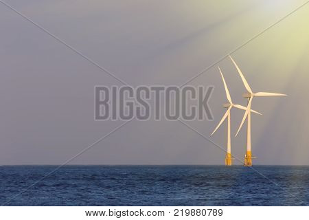 Sustainable resources. Soft seascape with offshore wind turbines illuminated by bright sunshine. Wind sea and solar power renewable energy represented by windfarm in sun rays in the ocean.