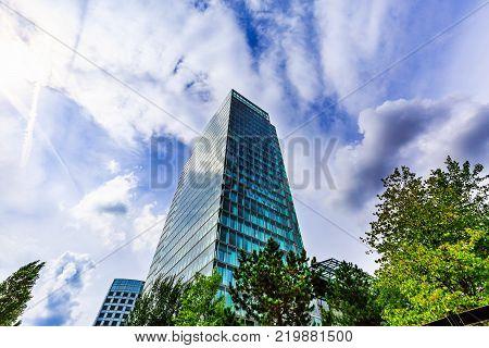 Amsterdam, Netherlands - August 16, 2017: Skyscraper. Modern office building exterior design, glass facade. Urban view at summer. Business district. World Trade Center, Amsterdam Zuid, Netherlands.