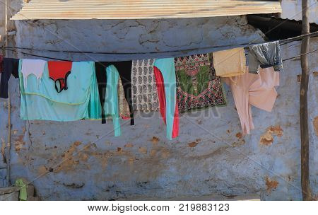 Jodhpur India - October 19, 2017: Laundry Hanged On Clothes Line In Jodhpur India