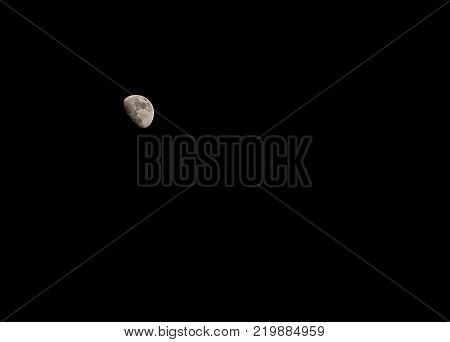Half moon background at night with copy space