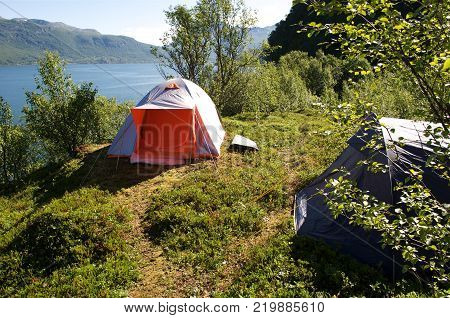 tourist tent in mountains in summertime, Norway