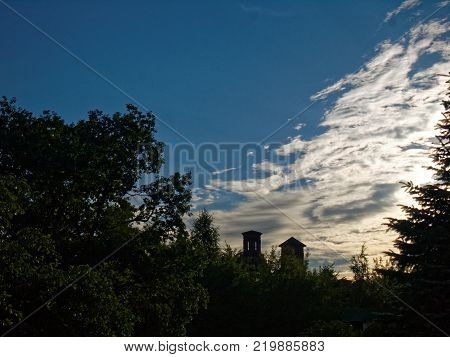 the unfinished Church on a blue sky background, Moscow