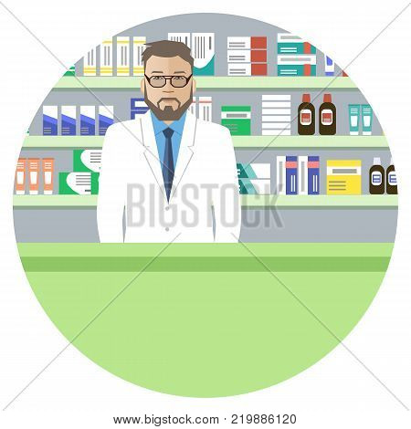 Web banner a pharmacist. Young man in a pharmacy: standing in front of shelves with medicines. Vector illustration