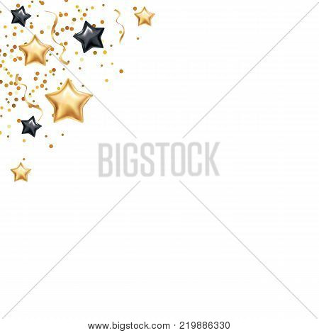 Gold black star background, banners. Golden banner. Scatter sparkles , shine glitter banner. Super Sale logo, web, card, vip exclusive certificate, gift luxury, voucher. Store shopping sale. Special offer header
