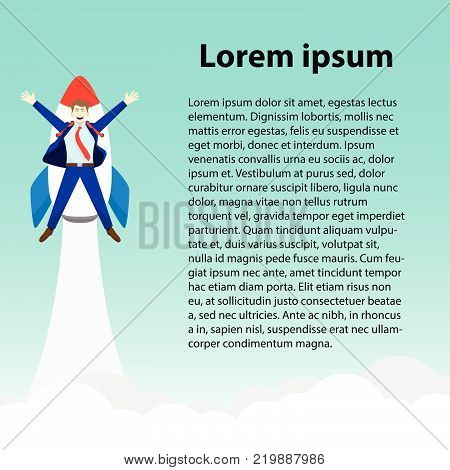 Business Concept As A Happy Businessman Is Attached To A Rocket Launching Into The Sky With Text. It Means Starting Up Introducing Initiating A New Opportunity With Copy Space For General Text.