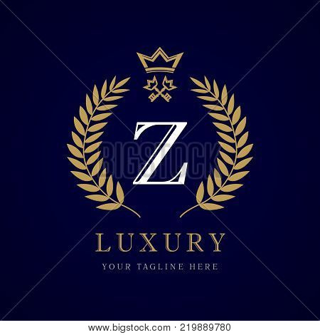 Luxury calligraphic letter Z crown and key monogram logo. Laurel elegant beautiful round identity with crown and key. Vector letter emblem Z for Royalty, Restaurant, Boutique, Hotel, Heraldic, Jewelry