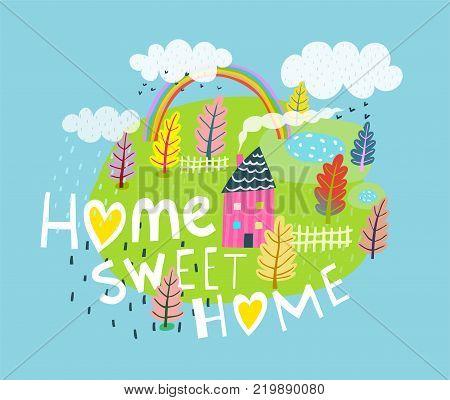 Rural landscape with home sweet home slogan. Vector illustration.
