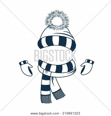 Set of winter clothes. Ski hat with pompon, mittens and scarf poster