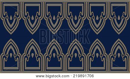 Abstract blue background with gold patterns raster image is computer graphics and can be used in a variety of design projects