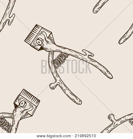 Barber tool mechanical hair clipper seamless pattern engraving vector illustration. Scratch board style imitation. Hand drawn image.