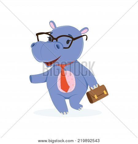 Funny baby hippo businessman character in glasses with briefcase, cute behemoth African animal vector Illustration on a white background