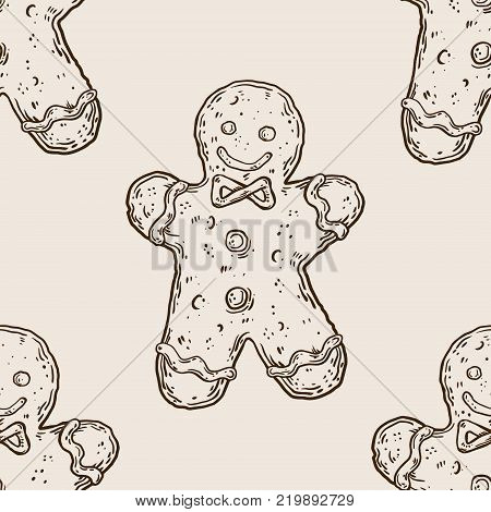 Cookie man engraving seamless pattern engraving vector illustration. Scratch board style imitation. Hand drawn image.
