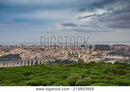 View of the city or Lisbon in the distance from Monsanto Park