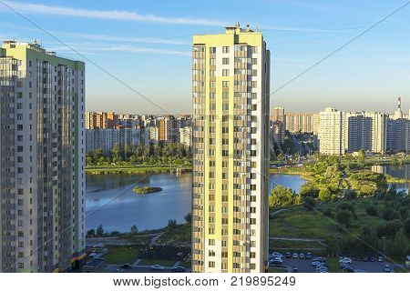 residential complex of multi-colored high-rise buildings, view of the sleeping area of the city, multi-storey apartment buildings in Russia