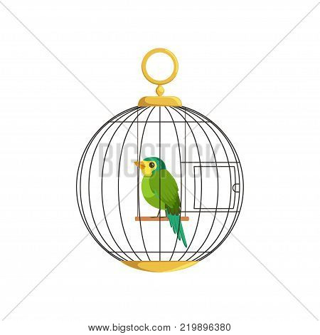 Cartoon illustration of colorful little bird in cage. Green singing finch. Hanging cell in round shape. Domestic canary in flat style. Simple vector design for pet store, business poster or flyer.