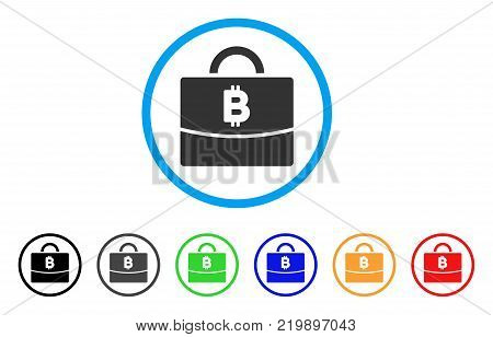 Bitcoin Accounting Case rounded icon. Style is a flat grey symbol inside light blue circle with bonus colored versions. Bitcoin Accounting Case vector designed for web and software interfaces.