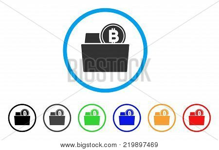 Bitcoin Folder rounded icon. Style is a flat grey symbol inside light blue circle with additional color versions. Bitcoin Folder vector designed for web and software interfaces.
