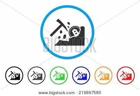 Bitcoin Mining Hammer rounded icon. Style is a flat grey symbol inside light blue circle with additional color versions. Bitcoin Mining Hammer vector designed for web and software interfaces.