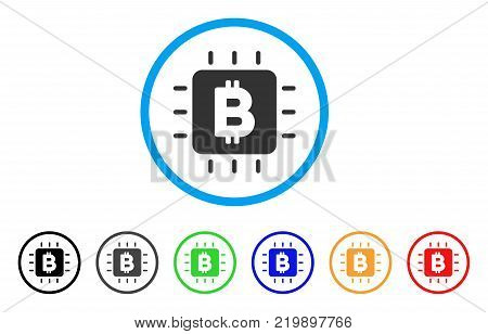 Bitcoin Processor Chip rounded icon. Style is a flat grey symbol inside light blue circle with bonus color versions. Bitcoin Processor Chip vector designed for web and software interfaces.