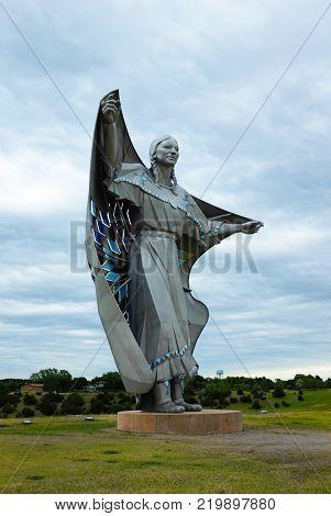 CHAMBERLAIN, SOUTH DAKOTA - JUNE 22, 2017: The Dignity Sculpture. The sculpture honors the culture of the Lakota and Dakota peoples who are indigenous to South Dakota.