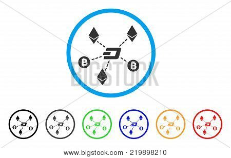 Cryptocurrency Relations rounded icon. Style is a flat gray symbol inside light blue circle with bonus color versions. Cryptocurrency Relations vector designed for web and software interfaces.
