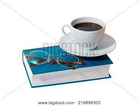 White cup of coffee and book with glasses isolated on white background