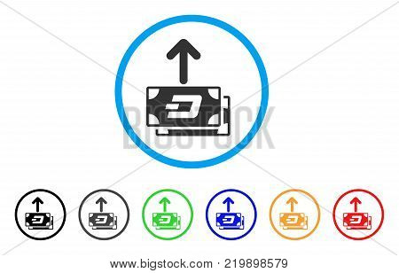 Dash Banknotes Pay Out rounded icon. Style is a flat grey symbol inside light blue circle with additional colored versions. Dash Banknotes Pay Out vector designed for web and software interfaces.