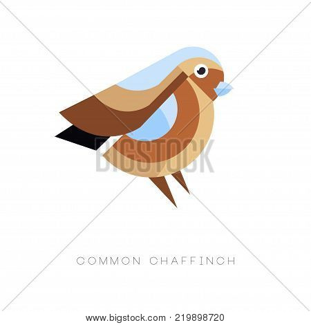 Abstract logo design of common chaffinch. Geometric flat vector icon. Small passerine bird. Colorful illustration isolated on white background. Graphic element for postcard print or zoo store.
