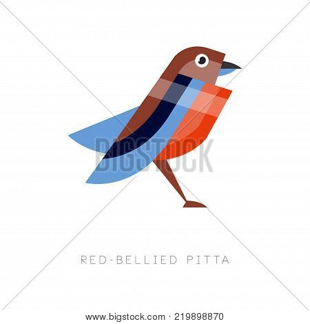 Abstract illustration of red bellied pitta. Colorful bird made from simple geometric figures. Flat vector design isolated on white background. Original element for print, business or zoo store logo.