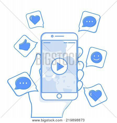 Viral content conceptual illustration. Likes, shares and comments popping up on the mobile screen. Video content for millennials. Flat line editable vector illustration, clip art.