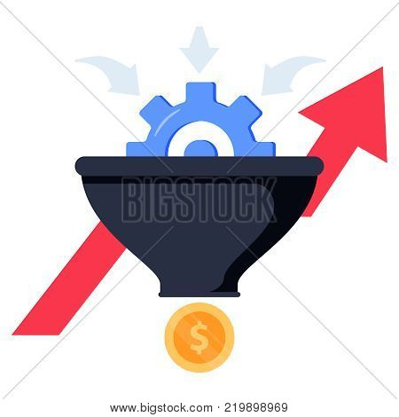 Sales funnel concept illustration on white background. Conversion Rate Optimization. Internet marketing icon concept in flat style. Business infographics with stages growth graph, money and gear
