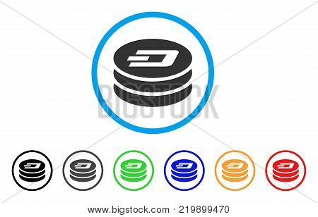 Dash Coin Column rounded icon. Style is a flat gray symbol inside light blue circle with additional color versions. Dash Coin Column vector designed for web and software interfaces.