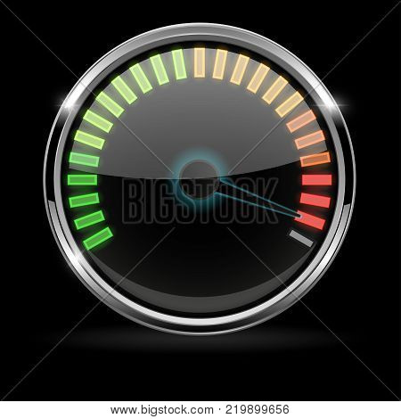 Industrial gauge with metal frame on black background. Maximum level. Vector illustration