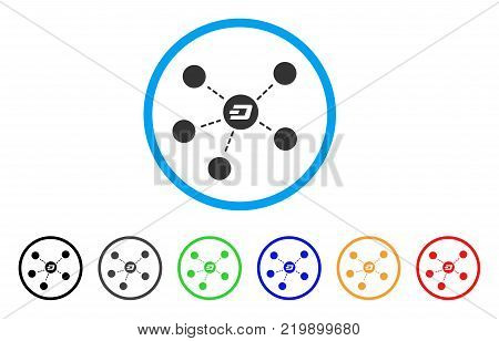 Dash Coin Relations rounded icon. Style is a flat grey symbol inside light blue circle with additional colored variants. Dash Coin Relations vector designed for web and software interfaces.