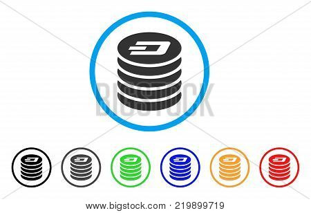 Dash Coin Stack rounded icon. Style is a flat gray symbol inside light blue circle with bonus color variants. Dash Coin Stack vector designed for web and software interfaces.