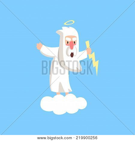 Angry god character standing on fluffy white cloud with halo over his head and lightning in the hand. Christian theme cartoon style illustration for children. Flat vector isolated on blue background.