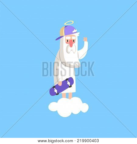 Cute god character wearing cap and holding skate board. Almighty bearded man standing on a cloud. Religious theme illustration for children book, card, poster. Flat vector isolated on blue background.