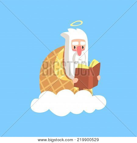 Cute illustration of god character wrapped in plaid reading book. Creator is resting. Almighty bearded man on a cloud. Christian religious theme for children. Flat cartoon vector icon isolated on blue