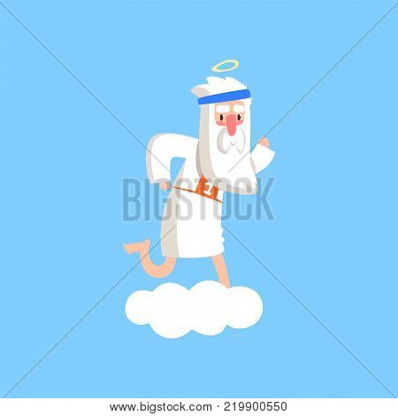 Cute god character standing preparing for a marathon. Almighty bearded man running on fluffy white cloud. Christian theme cartoon illustration for children. Flat vector isolated on blue background.