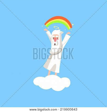 Creator cartoon character in action on white cloud. Smiling god creating a rainbow. Heaven working days. Almighty bearded man. Religious flat vector illustration for book, card, poster or badge.