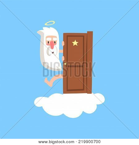 Smiling god character on fluffy white cloud peeking out from behind the door. Creator with halo on his head. Cartoon style religious concept for card or book. Flat vector isolated on blue background.