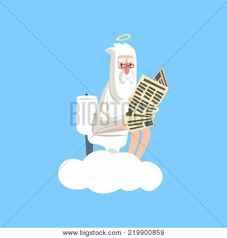 Bearded god character in action. Creator on fluffy white cloud with halo over his head sitting on the toilet and reading newspaper. Christian religious theme. Flat vector isolated on blue background. poster