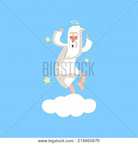 Happy bearded god character having fun. Almighty creator with halo dancing on white cloud surrounded with stars. Cartoon illustration for religious card, poster or print. Flat vector isolated on blue. poster