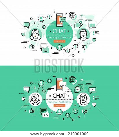 Set of modern vector illustration concepts of chatting. Line flat design hero banners for websites and apps with call to action button, ready to use