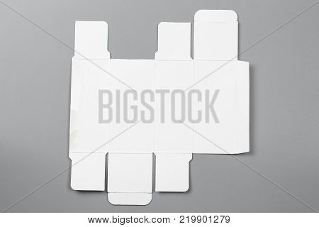 Mockup blueprint template white image photo bigstock mockup blueprint template of white paper box packaging on gray background old cardboard with die malvernweather Choice Image