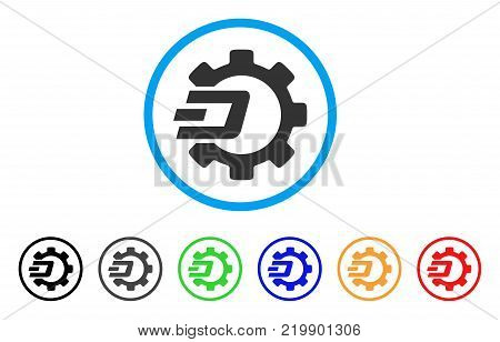 Dash Process Gear rounded icon. Style is a flat gray symbol inside light blue circle with additional colored versions. Dash Process Gear vector designed for web and software interfaces.